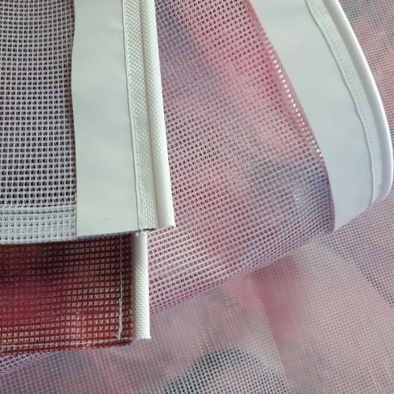 270 gsm mesh vinyl, printed 1200 dpi UV, keder on the top and bottom sides. Size: 360 x 240 cm