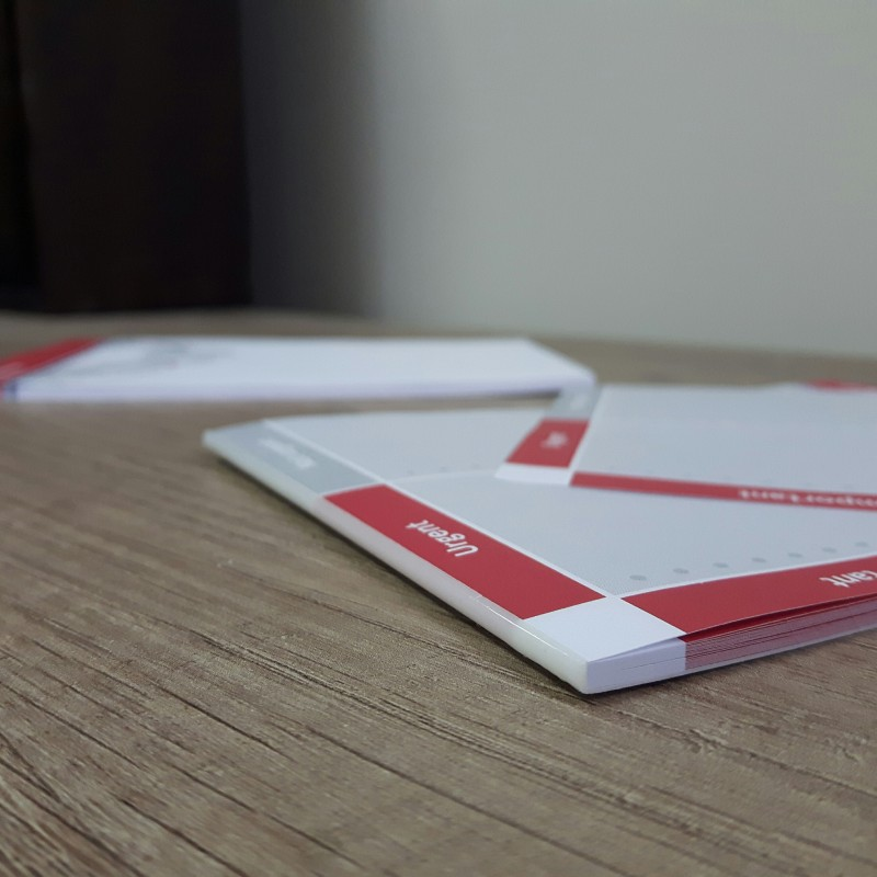 90 gsm offset paper, 20 sheets per block, printed 4 + 0, cardboard pad on the back, glued top side Size: A6
