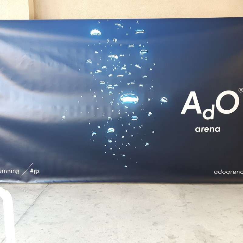 450 gsm PVC scrim banner, printed 1200 dpi. Size: 182 x 345 cm