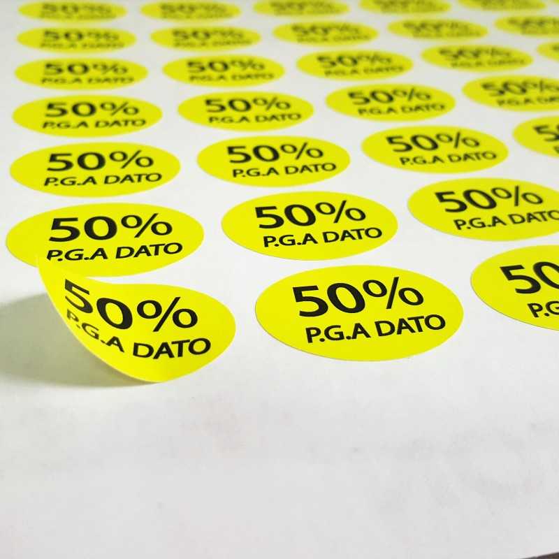 Self-adhesive paper, print 4 + 0 CMYK, cut to shape, delivered on sheets. Size: 30 mm width