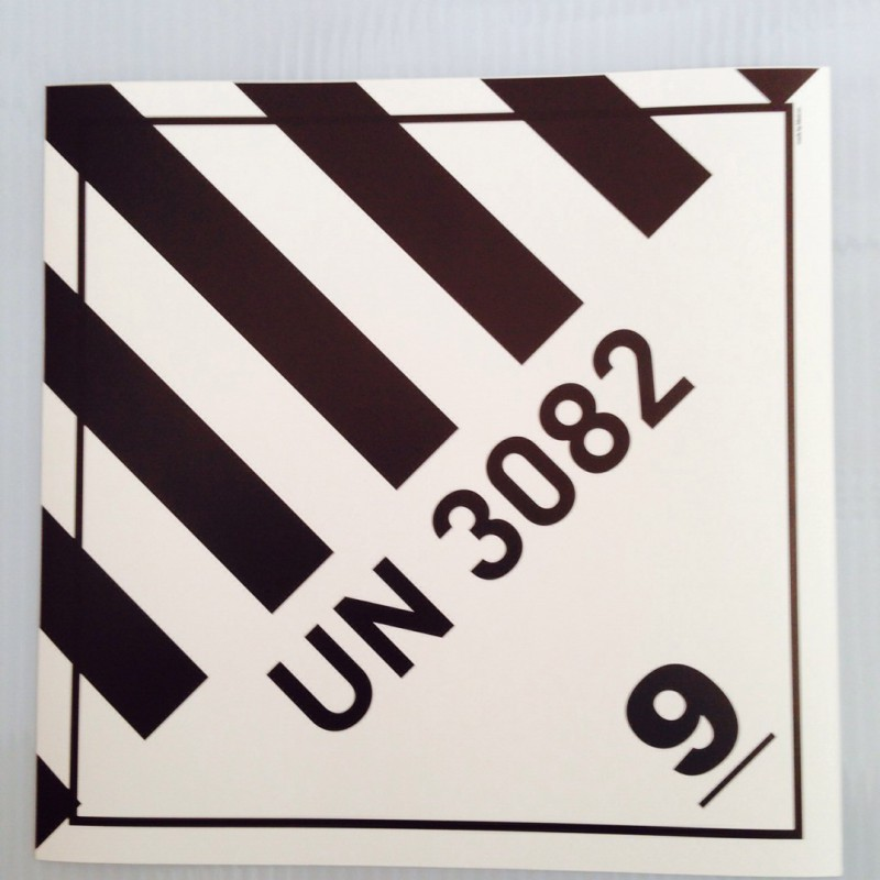 white monomeric PVC foil, screen printed. Size: 25 x 25 cm