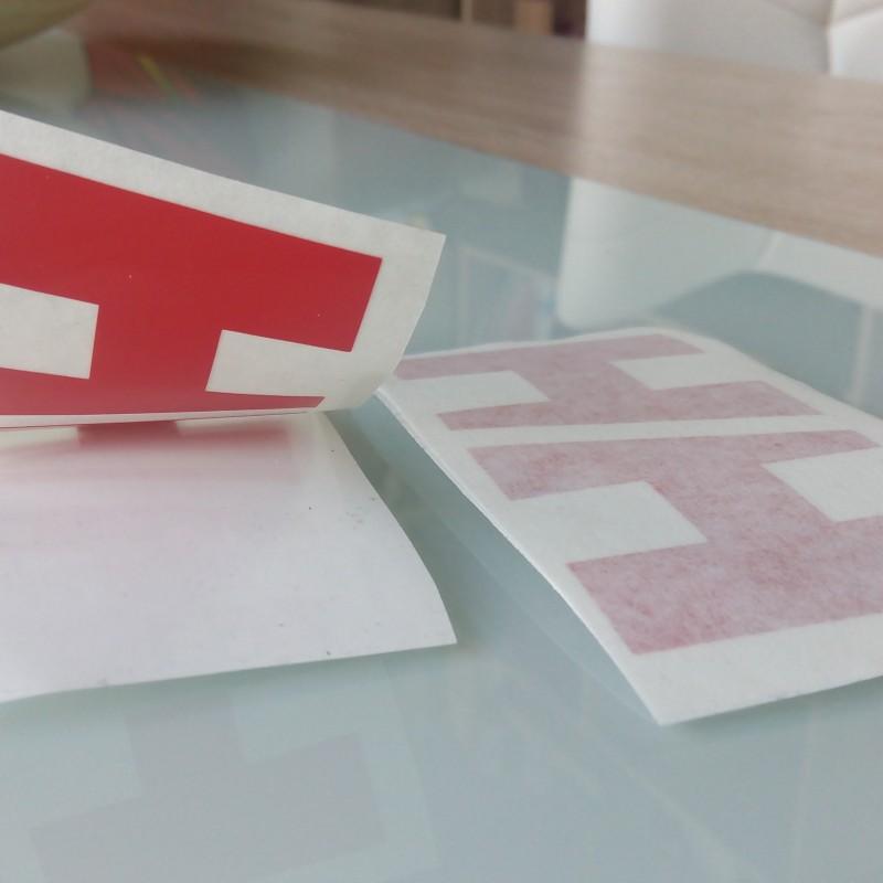 Orafol S 751 cast foil - 031 red /Pantone 186c/, contour cut.