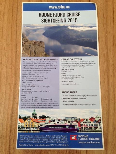 Rødne Fjord Cruise leaflet