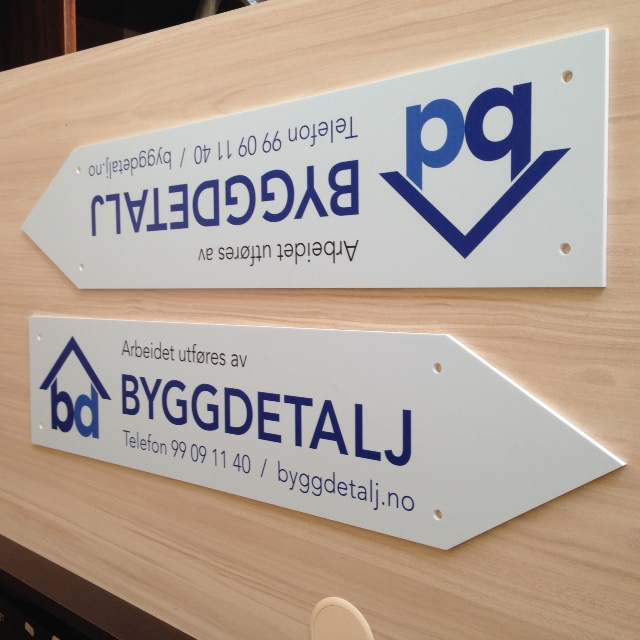 5mm foamed white PVC, directly printed UV inks, cut to shape and holes. Size: 70 x 15 cm