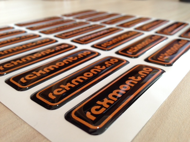 white foil + doming gel, printed CMYK or PMS, cut to shape rectangle