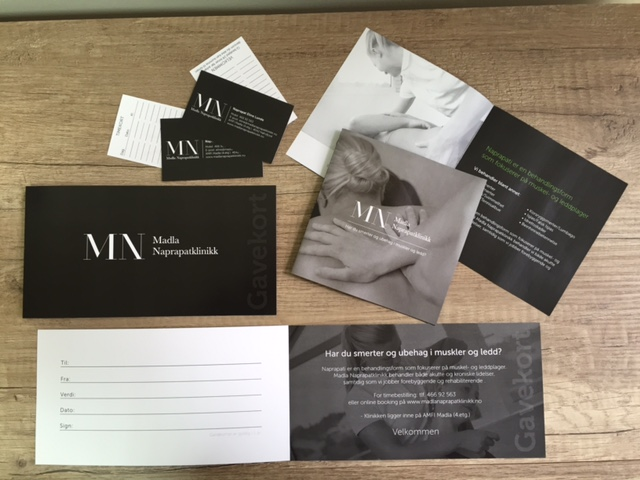 Set of Business cards, brochures, and gift cards, Grey-scale print
