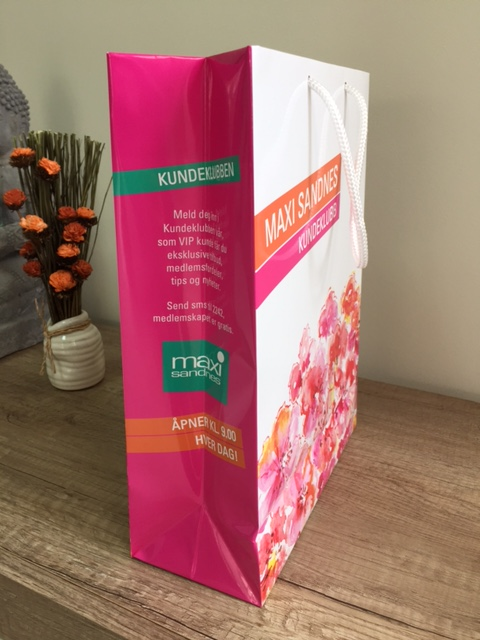 200 gsm paper, 4+0 CMYK fully printed, glossy laminate 28 microns with reinforced bottom and 34 cm white polyester handles