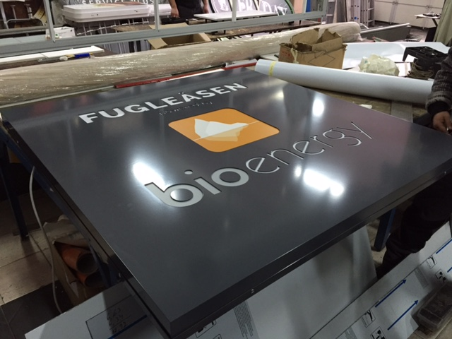 Etalbond plate with cut through illuminated LED letters, size 136 x 136 cm