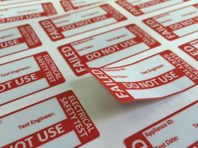 Polymeric PVC foil, print 1440 dpi, plotter cutting, rounded corners, size 49 x 25 mm