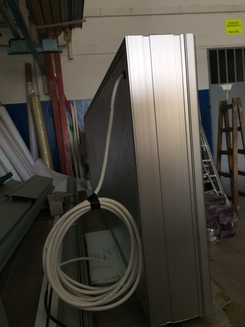 Aluminium construction on the sides and vinyl on the front, LED diodes Samsung. Size: 260 x 80 cm