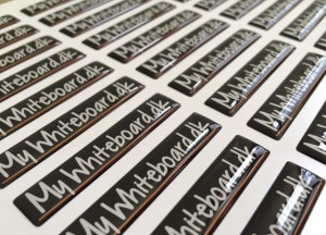 white foil + doming gel, printed CMYK or PMS. Size: 10 x 50 mm