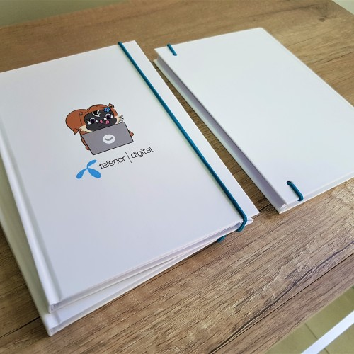 Mucava cover, pasted with paper; body - 90 gsm offset paper, 60 sheets; 4 + 0 print + laminate on the cover; bonding, sewing. Size: A5