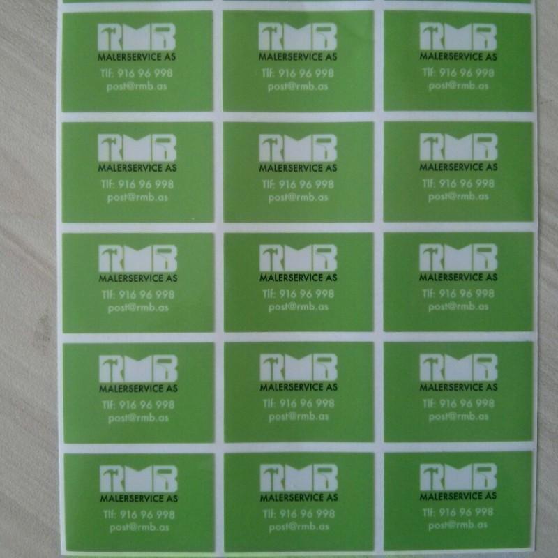 Polymeric PVC foil, printed 1440 x 1440 dpi eco solvent inks + polymeric glossy laminated. Size: 4.5 x 3 cm
