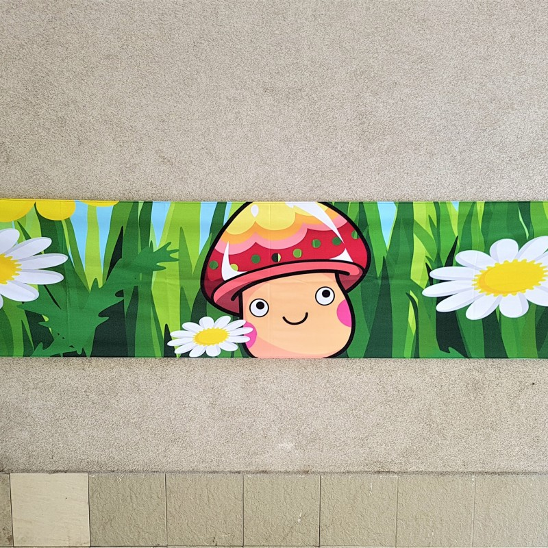 210 gsm polyester textile, 1200 dpi printed Size: 300 x 60 cm