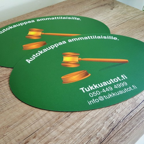 1.5 mm rubber + PVC frost laminate, print 4 + 0 CMYK. Size: 300 x 200 mm /oval shape/