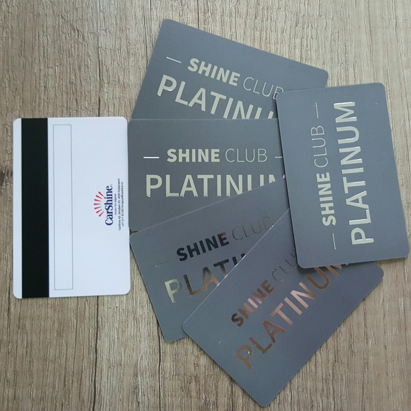 0.76 mm solid PVC, printed CMYK + hot stamp /platinum/, magnetic stripe LoCo, signature field, glossy black thermal personalization. Size: 85.6 x 54 mm