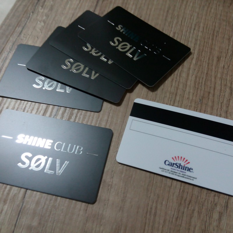 0.76 mm solid PVC, printed CMYK + hot stamp /golden/, magnetic stripe LoCo, signature field, glossy black thermal personalization. Size: 85.6 x 54 mm