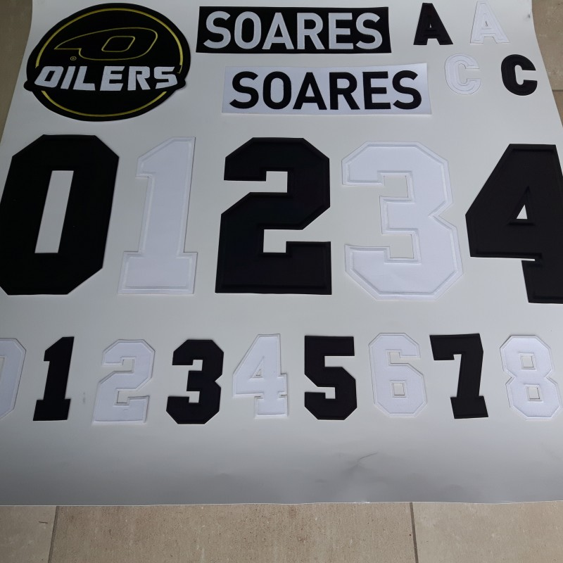 Embroidered names, logos, numbers, letters