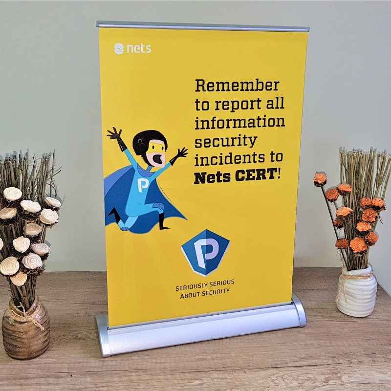 Aluminium stand with PVC banner, printed 4 + 0. Size: A3