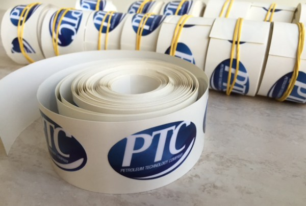 PVC monomeric foil, printed 1440x1440 dpi + lamination, contour cut to size 3x5 cm, 100 stickers on each roll