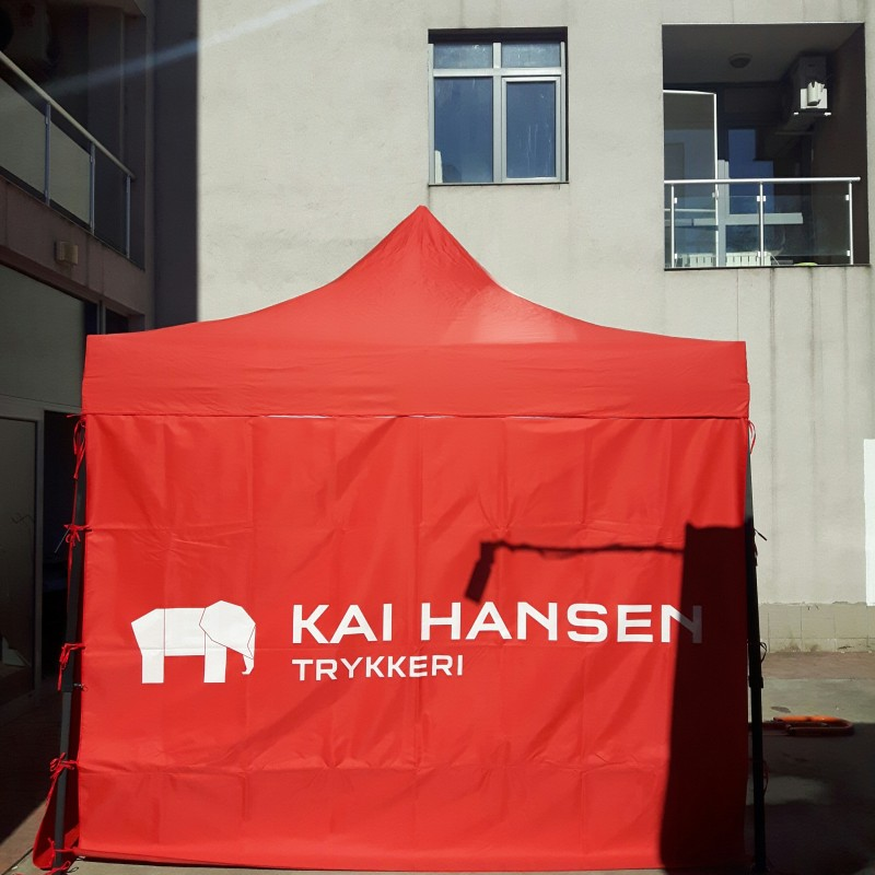 210 gsm polyester tent with steel construction, printed roof and double sides Size: 3 x 3 m