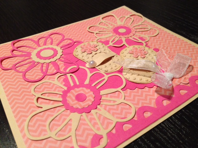 Pink and pale yellow flowers card