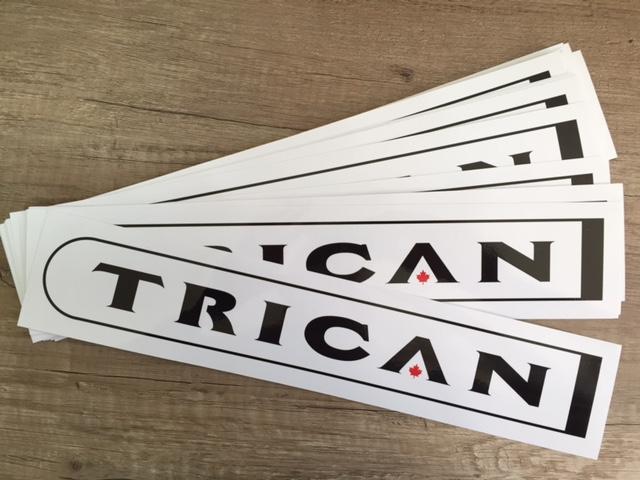 white PVC foil, 1440x1440 dpi eco-solvent printed + laminate, cut to size 40 x 8 cm.