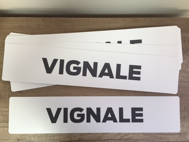 2 mm white solid PVC, directly UV printed, cut to size 52 x 11 cm