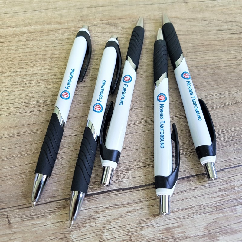 PVC pens with 2 colors logo on 2 positions. Size: 13 x 135 mm
