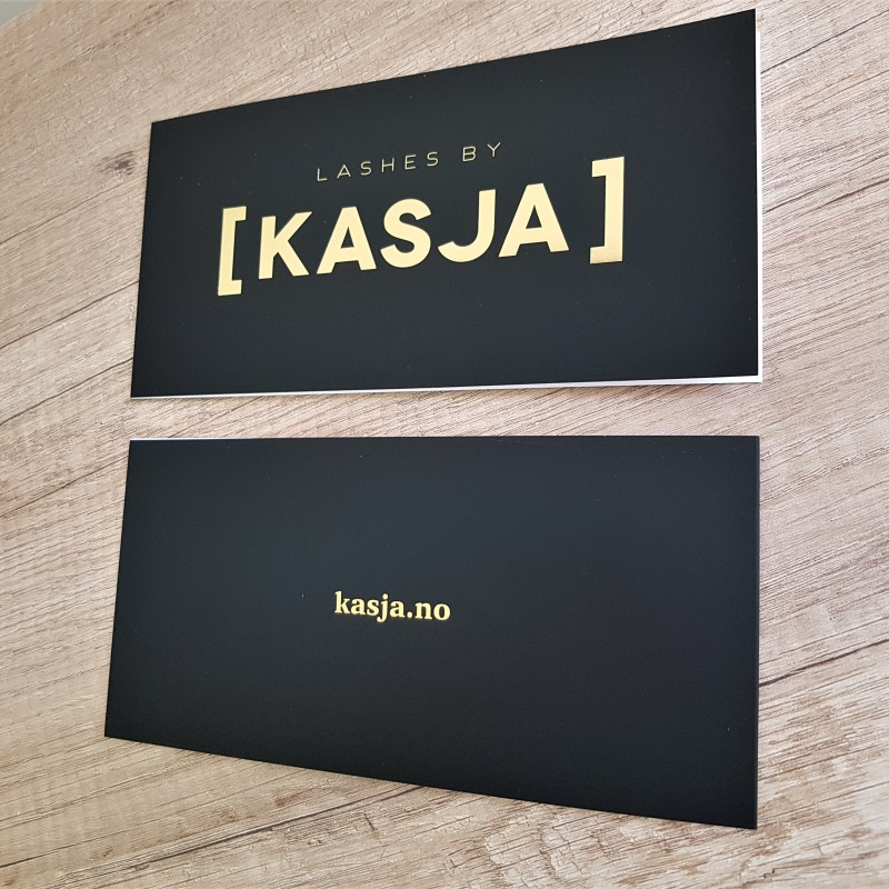 350 gsm chrome paper, printed 4 + 1 colors, one-sided soft touch laminate and gold hot foil. Size: 415 x 100 mm /unfolded/