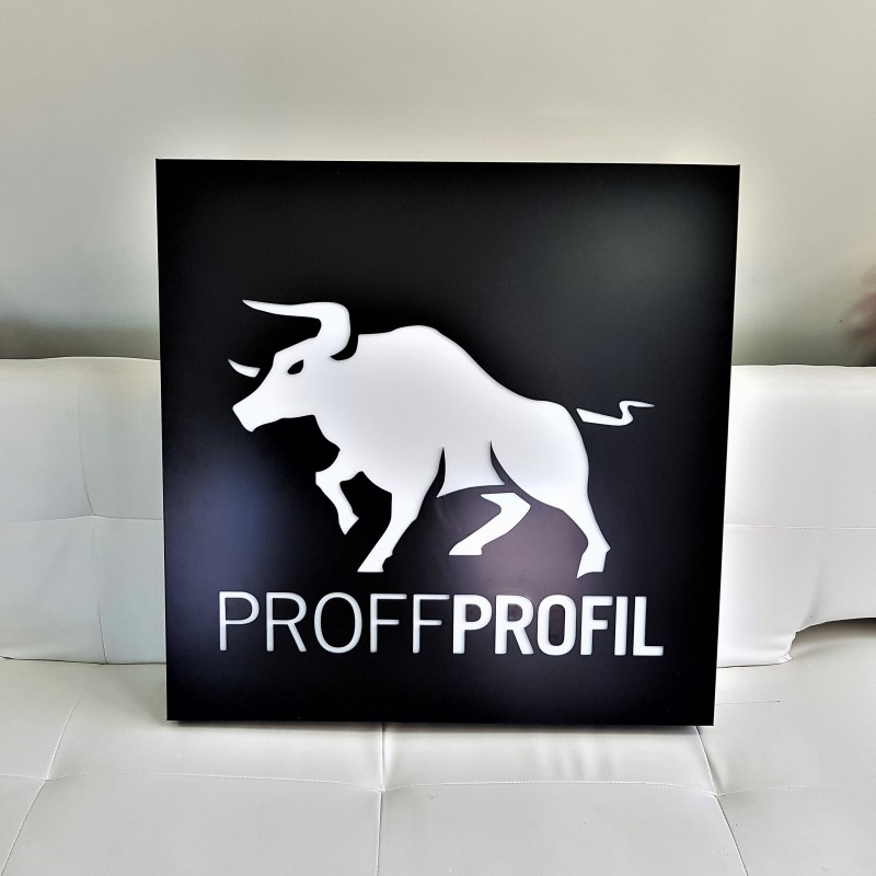 3 mm aluminum composite panel, mounted on aluminum construction; 3 mm, opal acrylic logo, LED lighted. Size: 800 x 800 mm