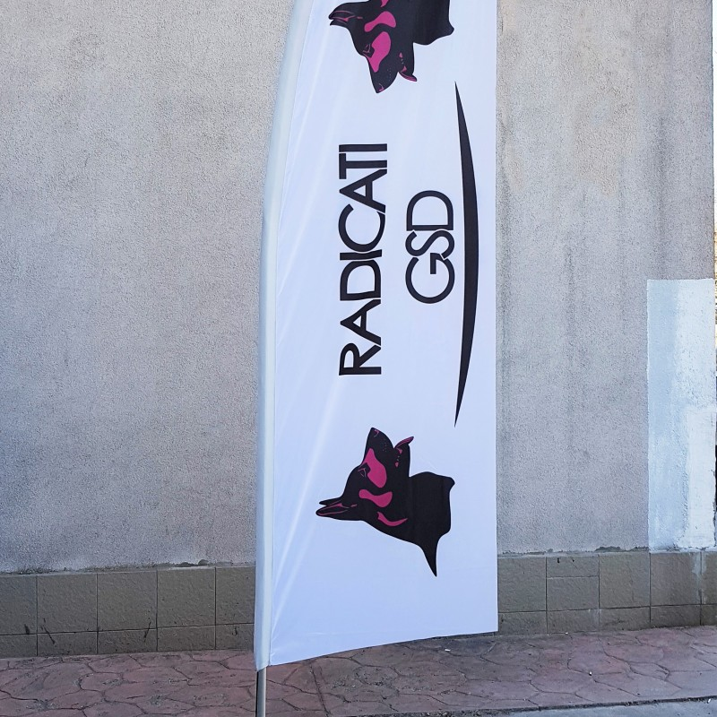 117 gsm polyester flag with reinforced tunnel, pole and cross base. Size: 3 x 1 m