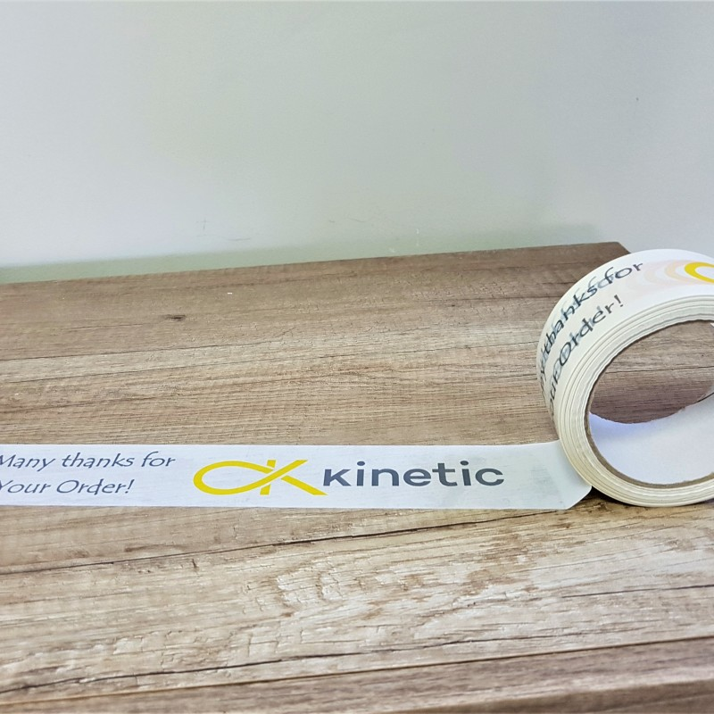 solvent glue, 2 colors  printed logo. Size: 48 mm x 66 m