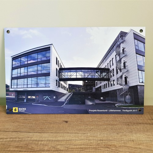 3 mm Etalbond, directly printed; hole in each corner. Size: 45 x 28 cm