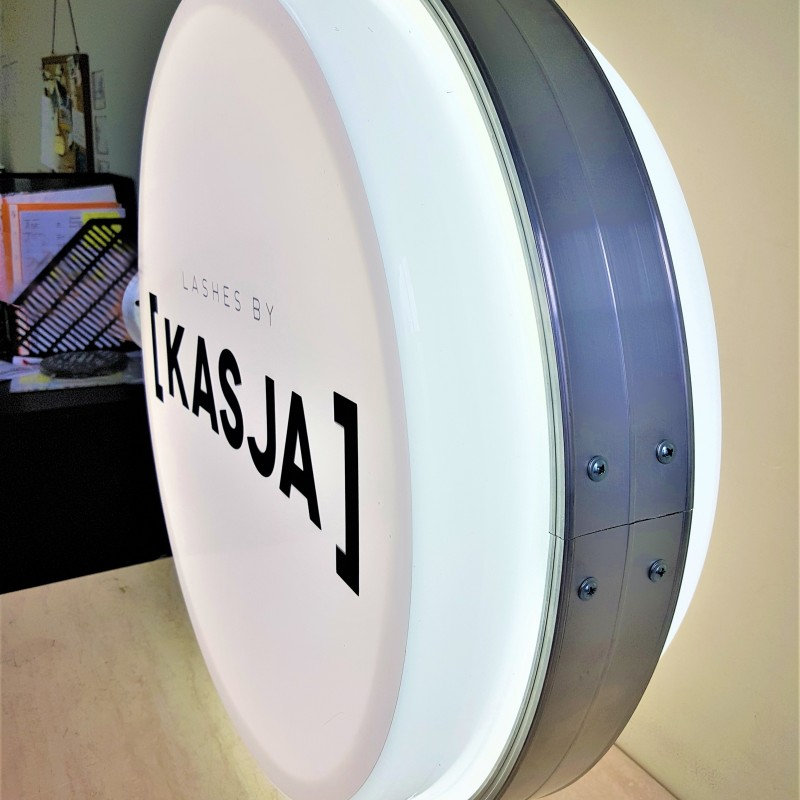 Acrylic plate with aluminum, pasted with printed foil both sides, LED illuminated Size: Ø 62 cm