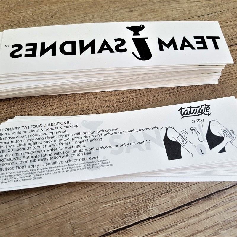 Decal paper, printed 1 color,  transparent adhesive over the print, protective plastic foil. Size: 4 x 17 cm