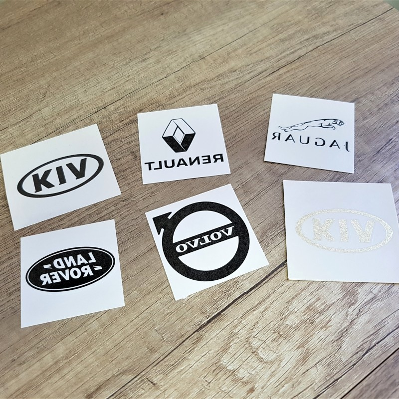 Decal paper, printed 1 color, transparent adhesive over the print, protective plastic foil. Size: 5.5 cm length