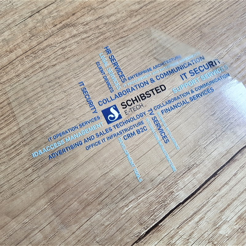transparent PVC foil, 4 + 0 printed /white/. Size: 14 x 10 cm