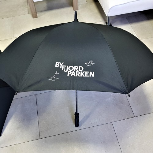 Automatic umbrella with PP handle, windproof polyester, printed 1 color logo on 2 positions. Size:Automatic umbrella with rubber coated handle, waterproof polyester, printed 1/2 colors logo on 2 positions Size: Ø 1220 mm
