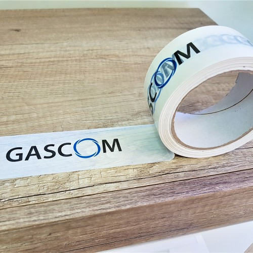 Solvent tape, printed in 2 colors. Size: 48 mm x 66 m