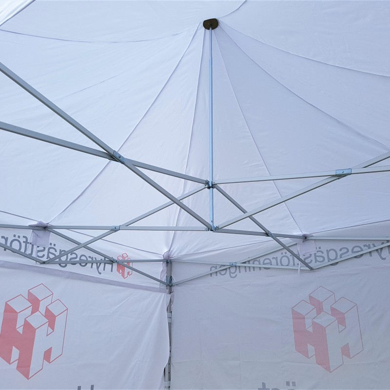 230 gsm polyester textile with aluminum construction, printed roof and 4 sides Size: 300 x 300 cm