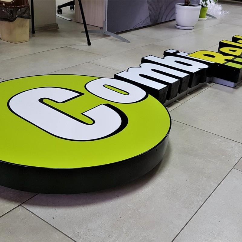 Individual letters with aluminum sides and 3 mm opal acryl face with F edging, directly printed, mounted on rails; BaltLED diodes Size: 300 x 80 cm