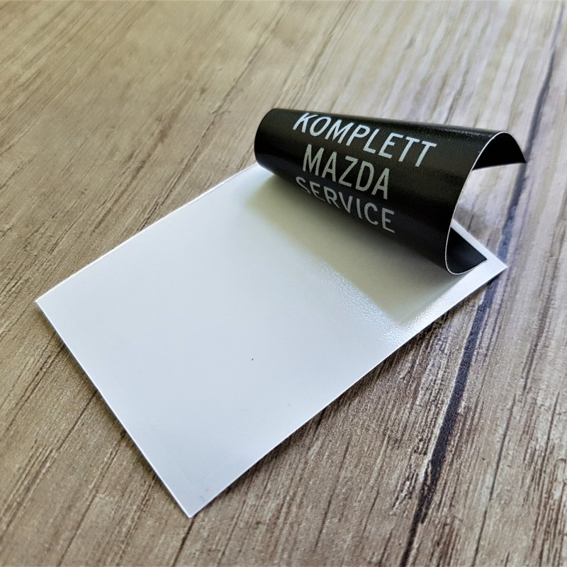 PVC foil /3 layers - transparent, white with print and black/, printed 1440 dpi eco-solvent inks Size: 32 x 55 mm