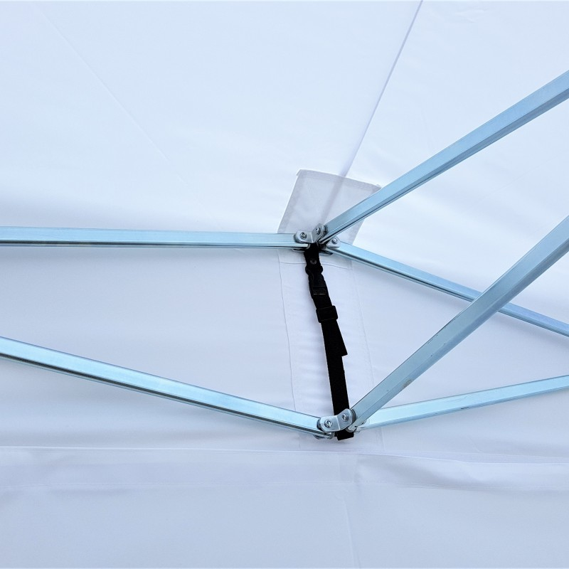 230 gsm polyester textile with stainless steel construction; sides + roof Size: 3 x 3 m