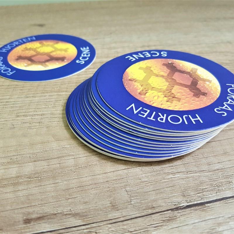 1 mm beer cardboard, printed 4 + 0 CMYK,. Size: Ø 90 mm