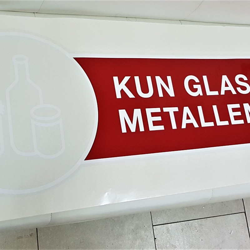 Transparent PVC foil, silk-screen printed in white + red color. Size: 164 x 42 cm