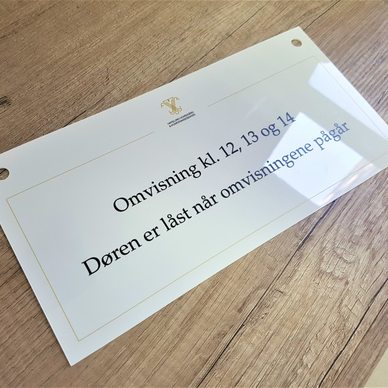 1.5 mm white PVC, digital UV printed on both sides, 2 holes. Size: 30 x 15 cm