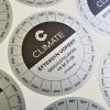 Monomeric metallic silver PVC foil, 1440 dpi printed, V-shape cuts. Size: Ø65 mm
