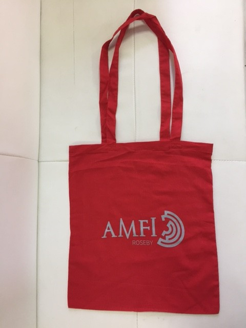 110 gsm red cotton, silk-screen printed in 1 color on one side, long handles.