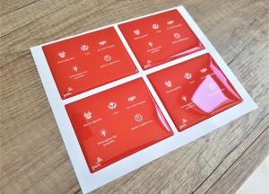 White PVC foil + doming gel, printed CMYK Size: 78 x 63.5 mm